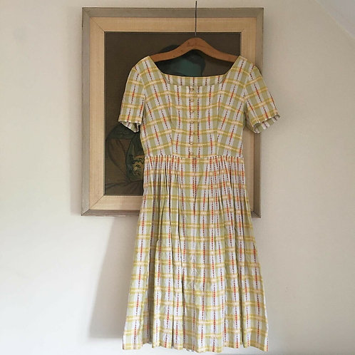 True Vintage 1950s Gingham Cotton Embroidered Dress UK8 10 W28""