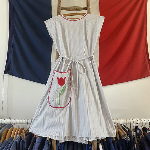 True Vintage 1950s USA Swirl Striped Ric Rac Cotton Dress UK6 8 10