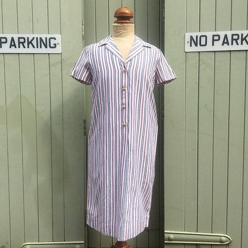 Vintage 1960s French Majolaine Paris Striped Smock Dress UK12 14 M