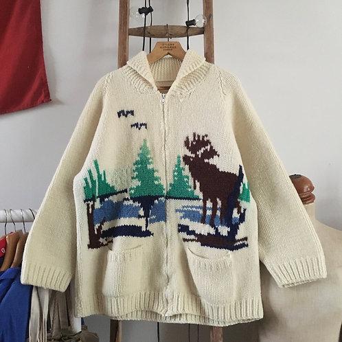 True Vintage 1960s Canadian Cowichan Cardigan L
