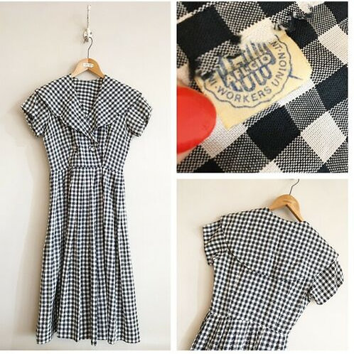 True Vintage 1950s USA ILGWU Label Gingham Dress UK8 10 W27""
