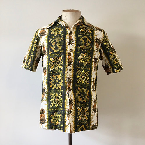Vintage 1960s Ui Maikai Hawaiian Novelty Print Cotton Shirt S