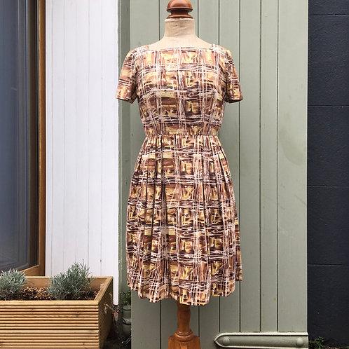 True Vintage USA 1950s Painterly Print Cotton Dress UK10