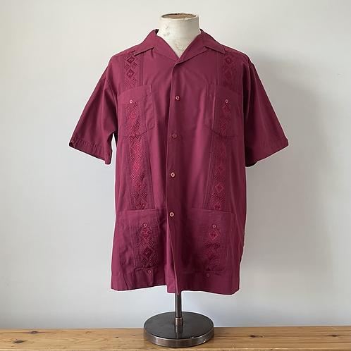Vintage Embroidered Guayabera Shirt XL