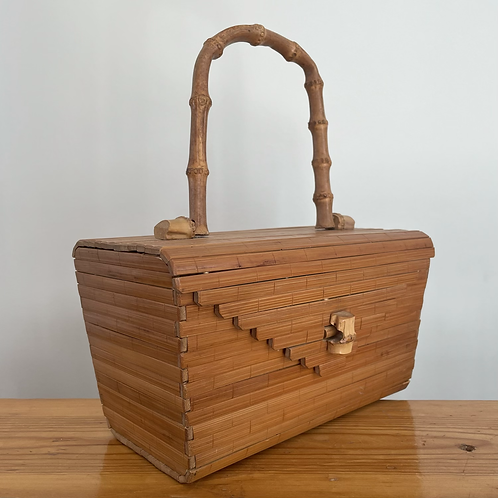 True Vintage 1950s Wooden Box Bag w/ Bamboo Handle Rare!