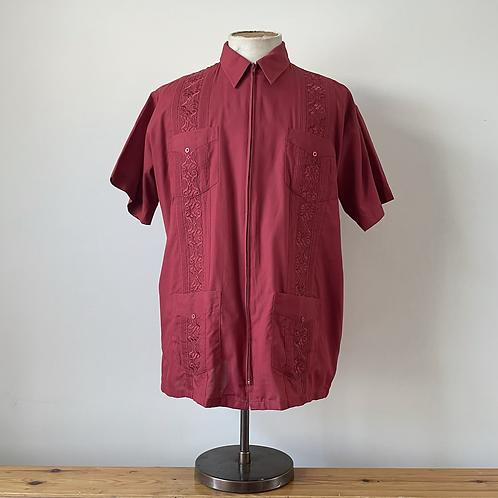 Vintage Embroidered Guayabera Shirt L