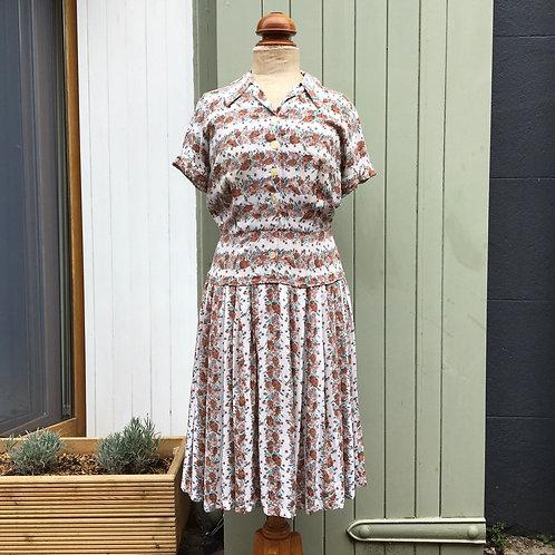 """True Vintage 1940s/50s Floral Cotton Dress UK10 W28"""""""