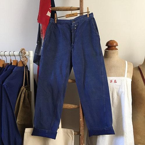"""Original 1940s Au Petit Marché French Workwear Trousers W28"""" 30"""""""