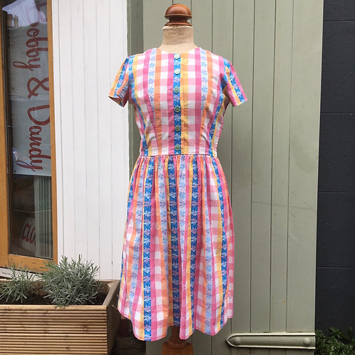 True Vintage 1950s Gingham Cotton Dress UK12 W30""