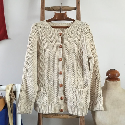 True Vintage Hand Cable Knit Oatmeal Wool Cardigan UK10