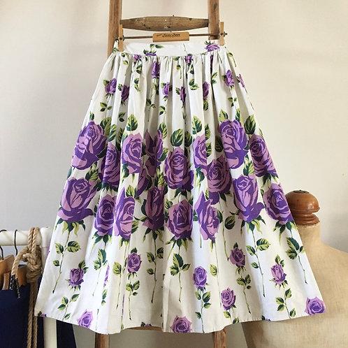 "True Vintage 1950s Arkay London Border Print Cotton Skirt W24"" UK4 6"