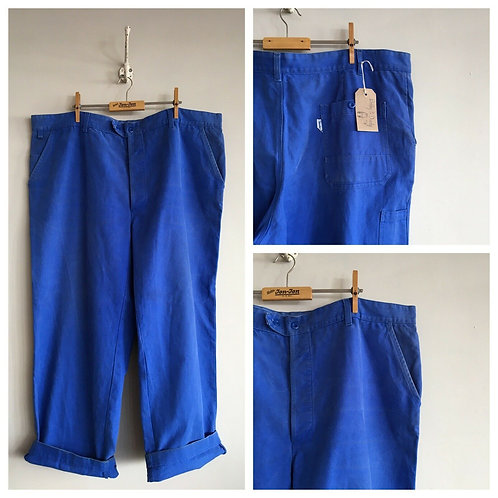 """Vintage French Molinel Cobalt Cotton Workwear Trousers W42"""" 44"""""""