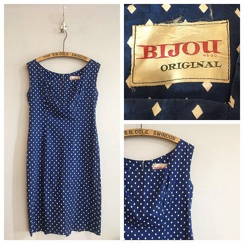 True Vintage 1950s/60s Bijou Original Cotton Shift Dress UK10 12