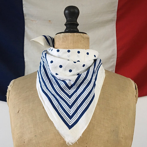 Vintage Cotton Neckerchief Scarf/ Navy & White