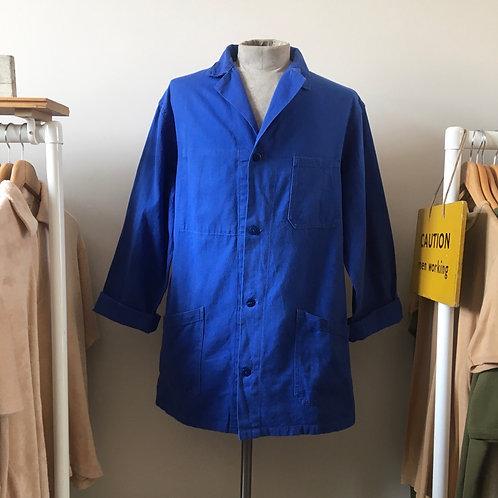 Vintage French Duster Worker Jacket with Back Belt L