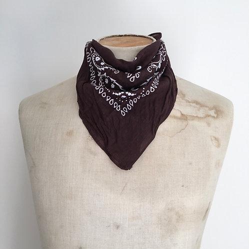 Vintage Style Bandana Neckerchief Scarf/ Brown