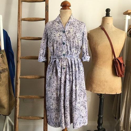 "True Vintage 1940s/50s Banner Dress UK12 14 W32"""