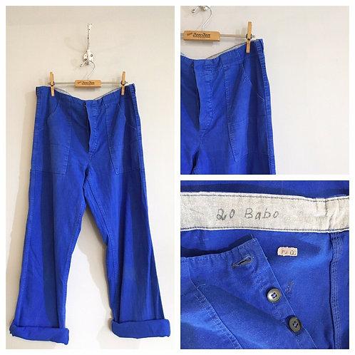 "Vintage Cobalt Cotton Workwear Trousers W34"""