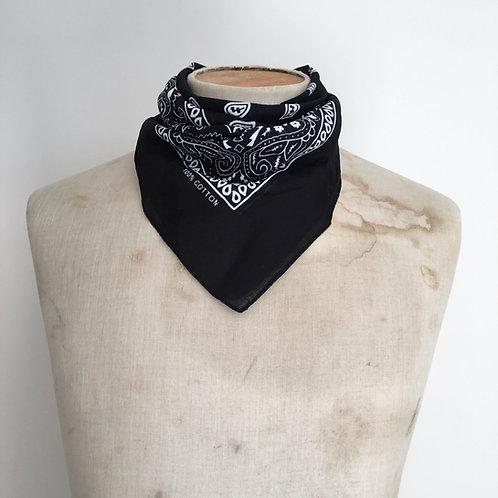 Vintage Style Bandana Neckerchief Scarf/ Black