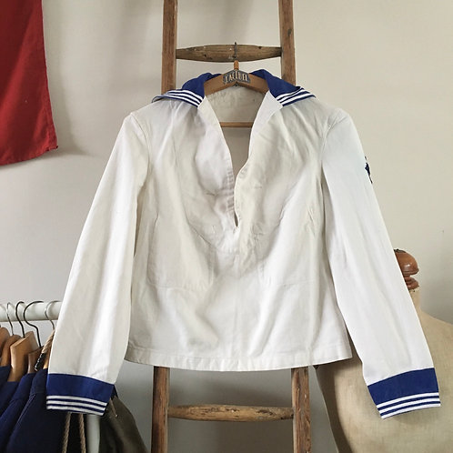 True Vintage 1950s French Marine Nationale Sailor Naval Shirt Top S M