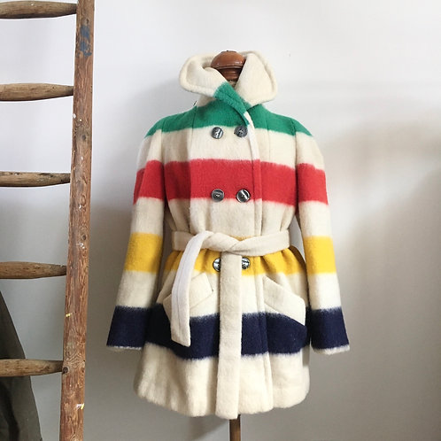 True Vintage 1960s/70s Hudson's Bay Canadian Blanket Coat M