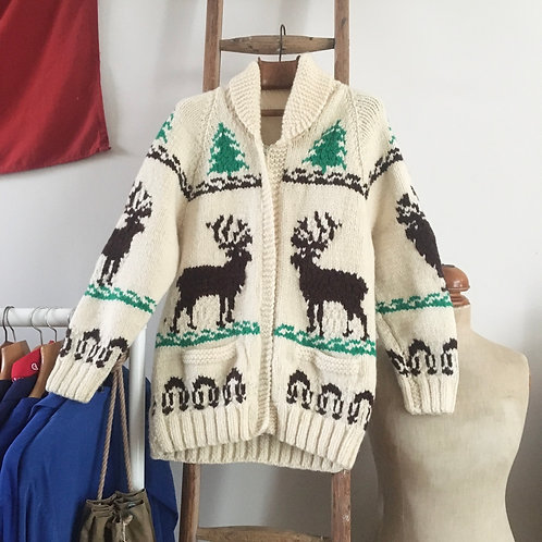 True Vintage 1950s Mary Maxim Canadian Cowichan Cardigan M