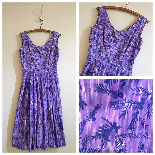 True Vintage 1950s Painterly Print Cotton Dress UK8 10 W27""
