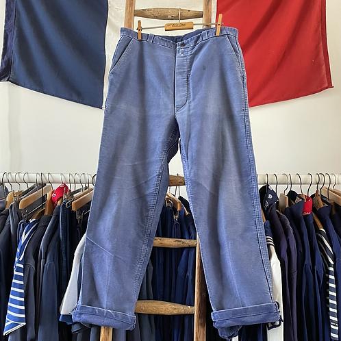 """True Vintage 1950s French Faded Moleskin Workwear Trousers W34"""""""