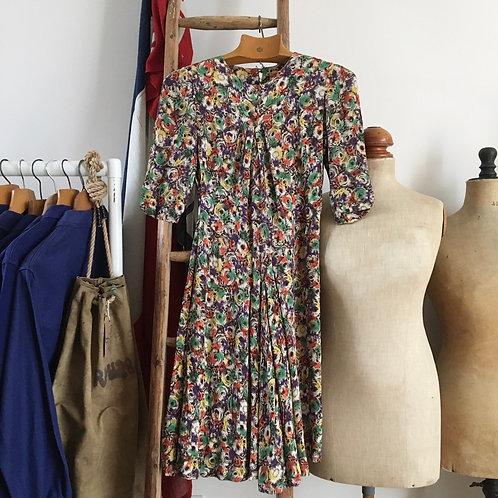 Original Vintage 1930s Crepe Dress UK8- 10 Small