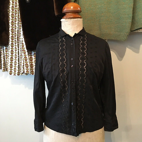 Vintage 1960s Broderie Anglaise Cotton Blouse S- M