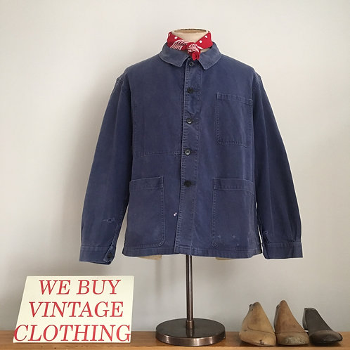 True Vintage 1950s/60s French Bleu de Travail Workwear Jacket M- L/ L