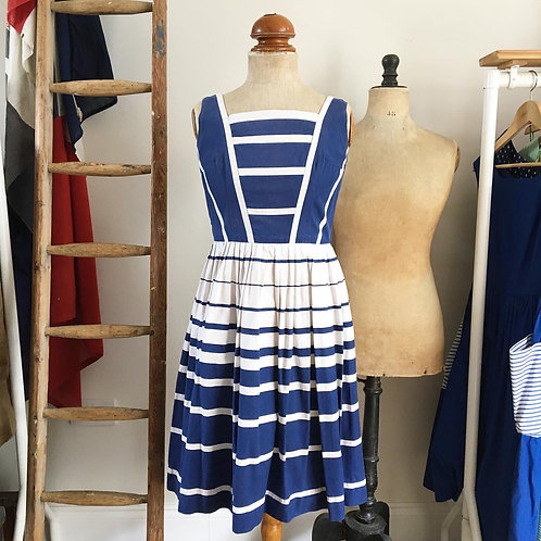 "True Vintage 1950s Graduated Stripe Cotton Dress UK8 10 W28"""