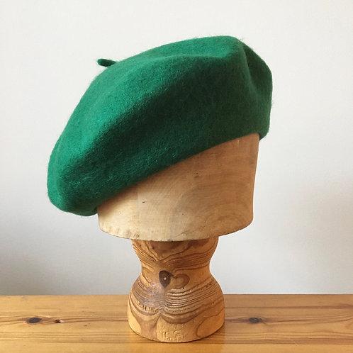 Woolmark 100% Wool Beret Hat / Bottle Green
