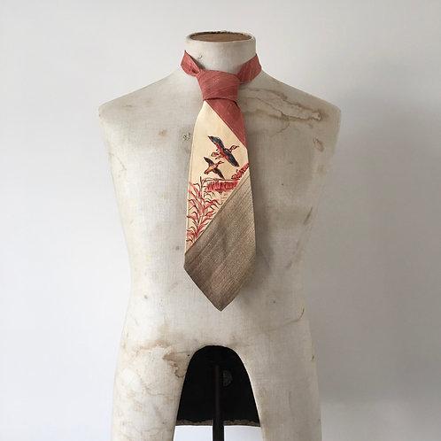 True Vintage 1940s USA Hand Painted Novelty Bird Print Neck Tie