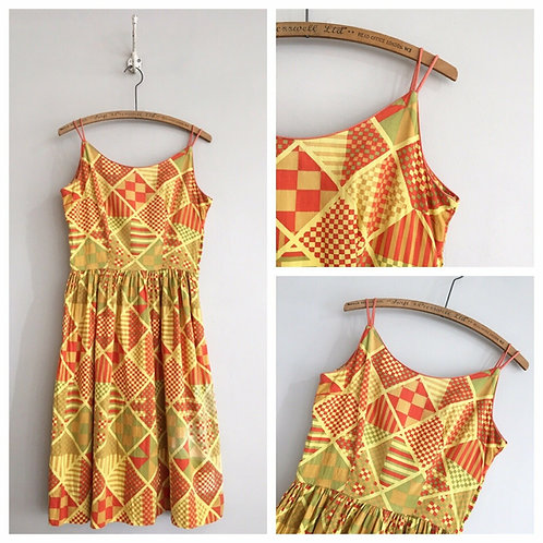 True Vintage 1950s Geometric Cotton Dress UK10 12 W29""