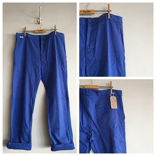 "Vintage Cobalt Cotton Workwear Trousers W38"""