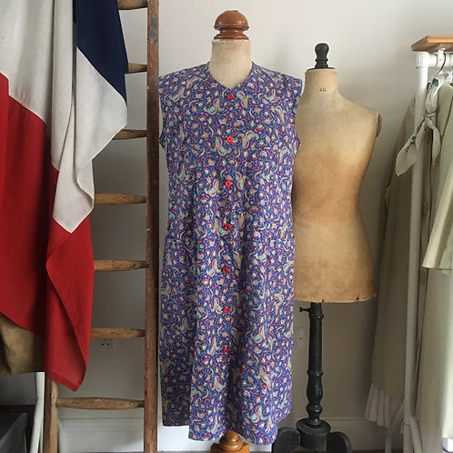 Vintage 1960s French Cotton Print Smock Dress UK14 M