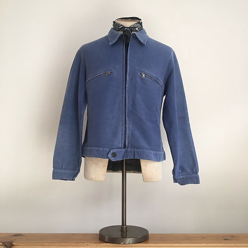 True Vintage 1950s French Moleskin Cyclist Mechanics Jacket M