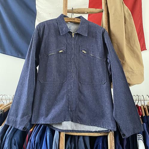 True Vintage 1960s French Denim Zip Front Workwear Jacket M- L
