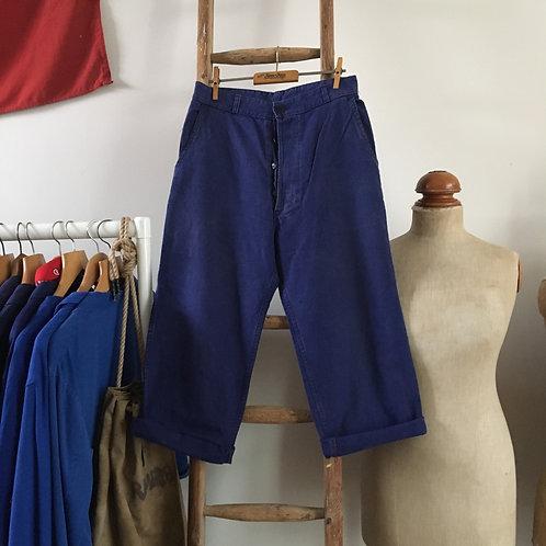 """Vintage French Bleu de Travail Cropped Workwear Trousers XS/S W28"""""""