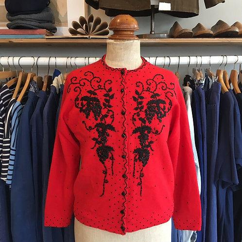 """True Vintage 1960s Beaded Wool Cardigan M 40"""""""