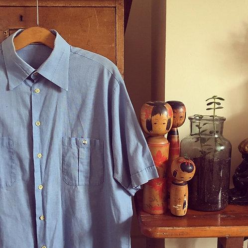 """True Vintage Blue Cotton Shirt L 42"""""""