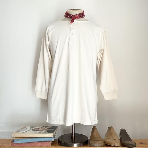 Vintage Style 100% Cotton Jersey Henley Shirt L