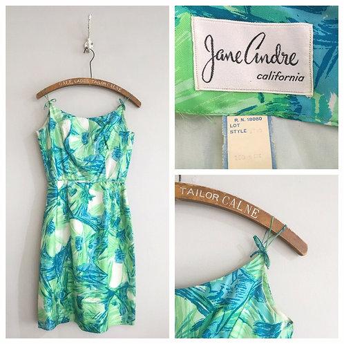 "True Vintage 1950s/60s Jane Andre California Silk Dress UK8 26"""