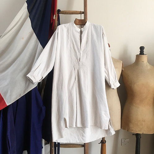 Antique 1900s French Linen Smock Shirt M L