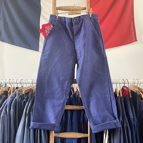 """True Vintage French Bleu de Travail Moleskin Workwear Trousers W35""""/36"""""""