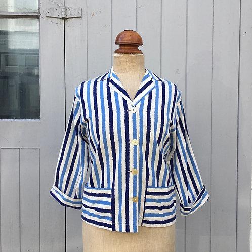 True Vintage 1950s Painterly Striped Cotton Jacket S