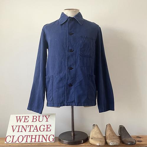 Vintage German Herringbone Cotton Workwear Chore Jacket S/ S- M