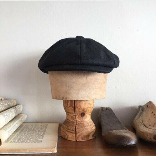 Vintage 1940s/50s Style Black Wool Newsboy Cap S/M