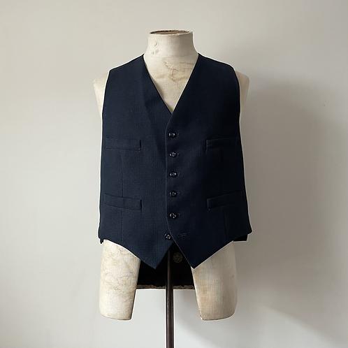 "Vintage Cinch Back Navy Waistcoat M- L 40"""